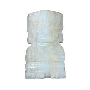 White Onyx Marble Hand Carved Mayan Figurine